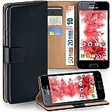 Bolso OneFlow para funda Samsung Galaxy S Advance Cubierta con tarjetero | Estuche Flip Case Funda móvil plegable | Bolso móvil funda protectora accesorios móvil protección paragolpes en Nero