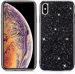 Girlscases® | iPhone XR Hülle Glitzer Schutzhülle mit Muster aus Silikon | Diamant/Glitter/Strass Rückseite/Motiv Glänzend | Farbe: Schwarz Glitzer