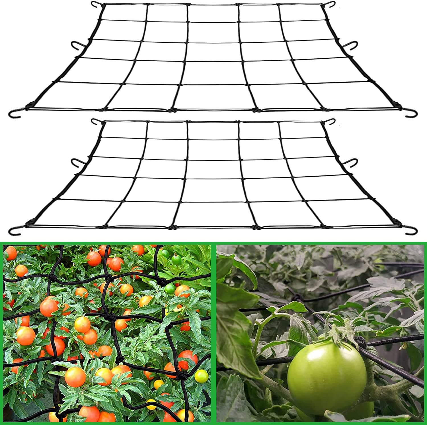 Flexible Elastic Trellis Netting for Grow Tents 2Pcs, 2x2ft Garden Trellis Netting for Fruits and Flowers, with 12 Steel Hooks