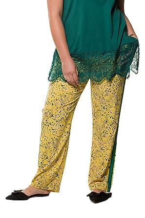 Studio Untold Damen große Größen bis 54, Hose aus Krepp, Blumenmuster,  Galonstreifen, 41706d5e0b