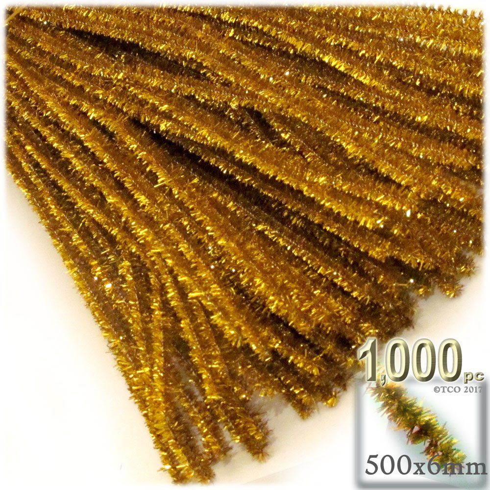 The Crafts Outlet Chenille Sparkly Stems, Pipe Cleaner, 20-in (50-cm), 1000-pc, Gold by The Crafts Outlet