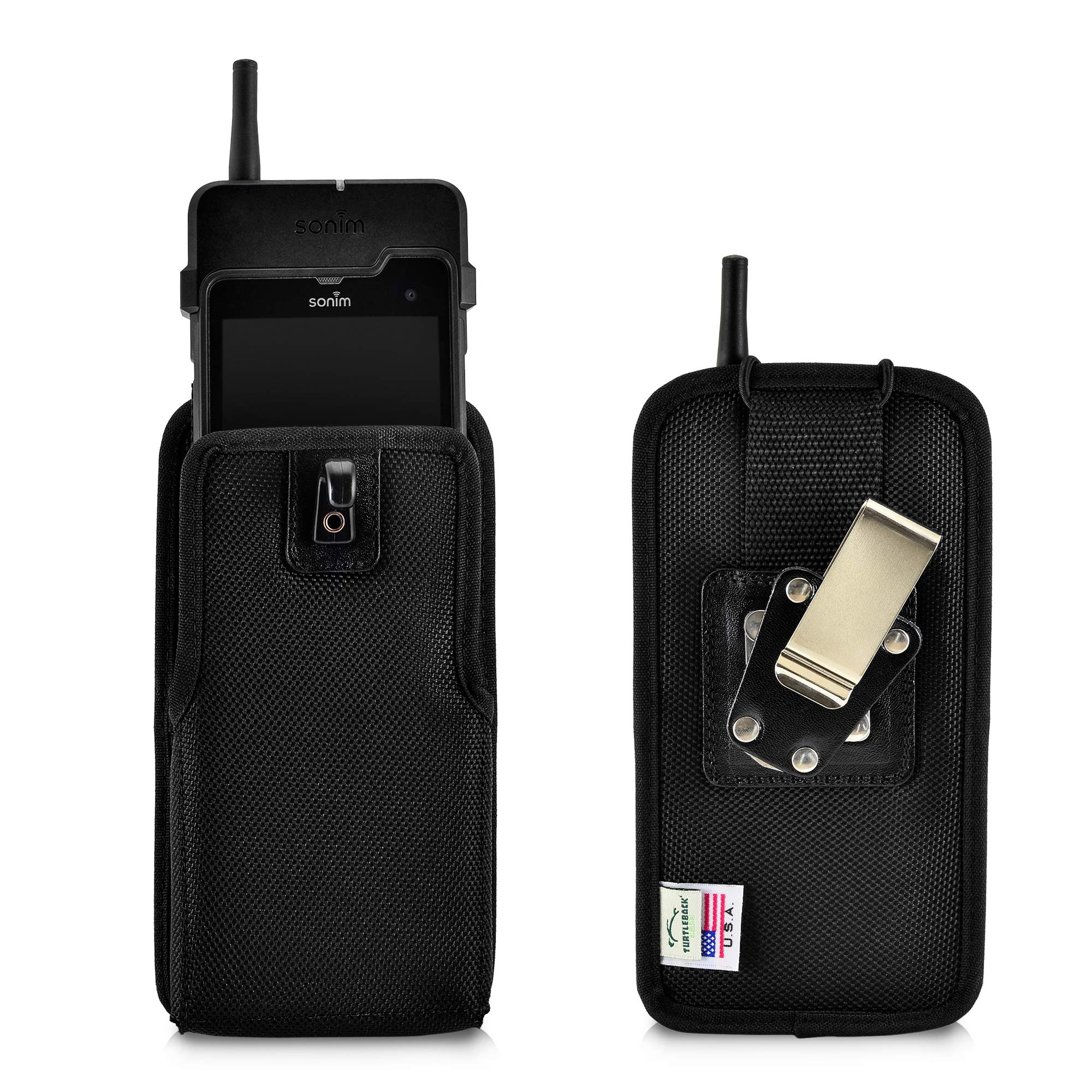 Turtleback Mobile Case Made for Sonim XP8 XPand Direct Mode Phone, Vertical Black Nylon with Rotating Metal Belt Clip