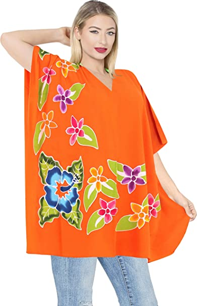 1af401c33dd LA LEELA Rayon Printed Casual Women Cover Up OSFM 12-18 [L-XL] Orange_3173  at Amazon Women's Clothing store:
