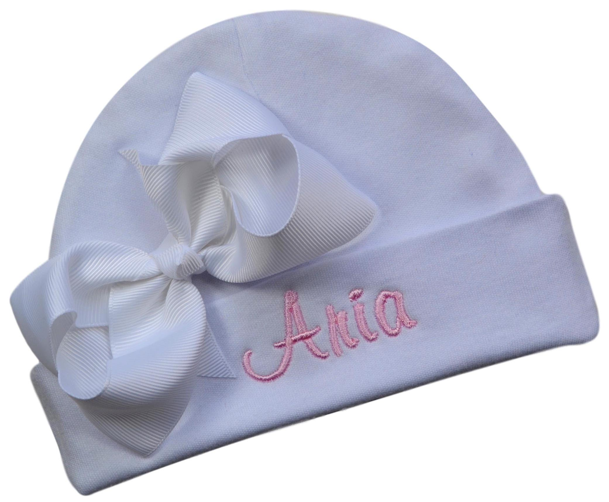 bb96b6ae1 Personalized Embroidered Baby Girl Hat with Grosgrain Bow with ...