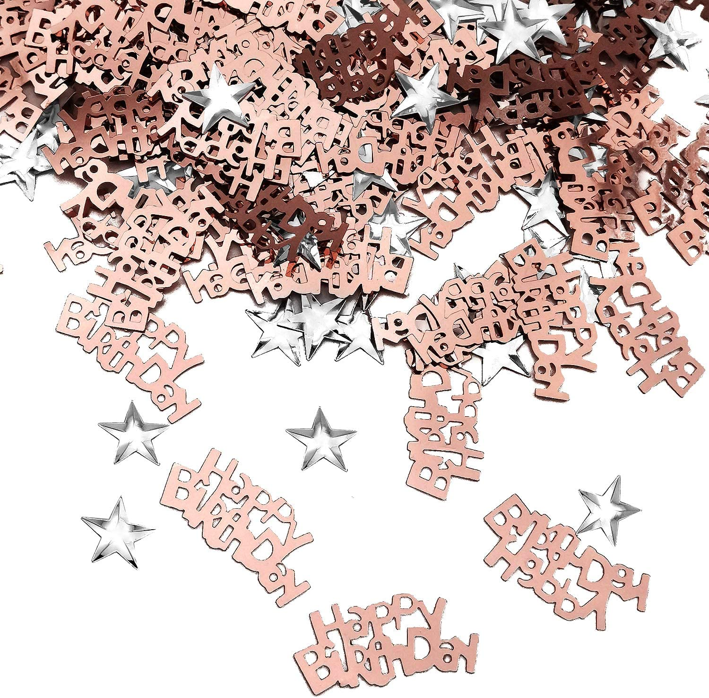 Melhope 60g Table Confetti Over 1000pcs Rose Gold Happy Birthday Confetti Birthday Sprinkleswith Metallic Foil Star Confetti Sequin for Boys Girls Birthday Decoration Table Party Decorations