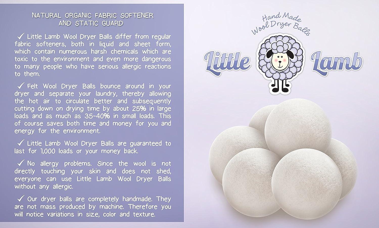 Little Lamb secador de lana Bolas x grande no de regalo 6 pack 6 Pack, 2 oz, Blanco, 1: Amazon.es: Salud y cuidado personal
