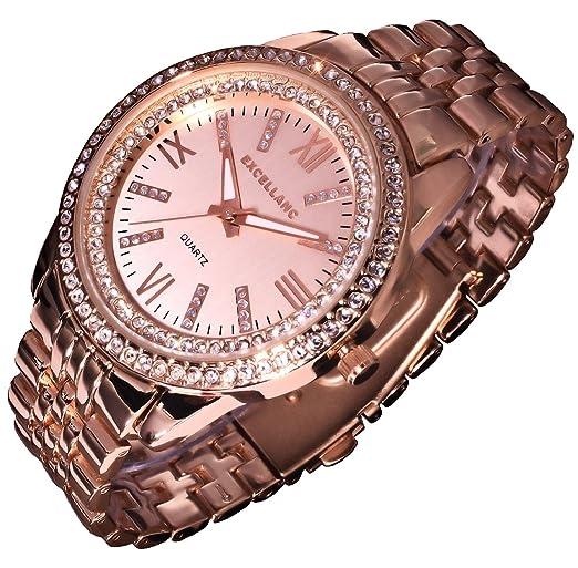 Excellanc llanc Reloj mujer RELOJ Reloj de pulsera Rose Gold Colores brillantes R 2: Amazon.es: Relojes