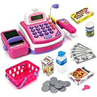 Assemble My Cash Register Pretend to Play Electronic Cash Register Toy with Actions and Sounds (Pink)
