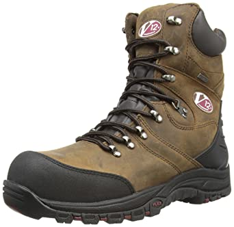 V12 Rocky, Zip-Sided Waterproof Safety Hiker, 05 UK 38 EU, Brown