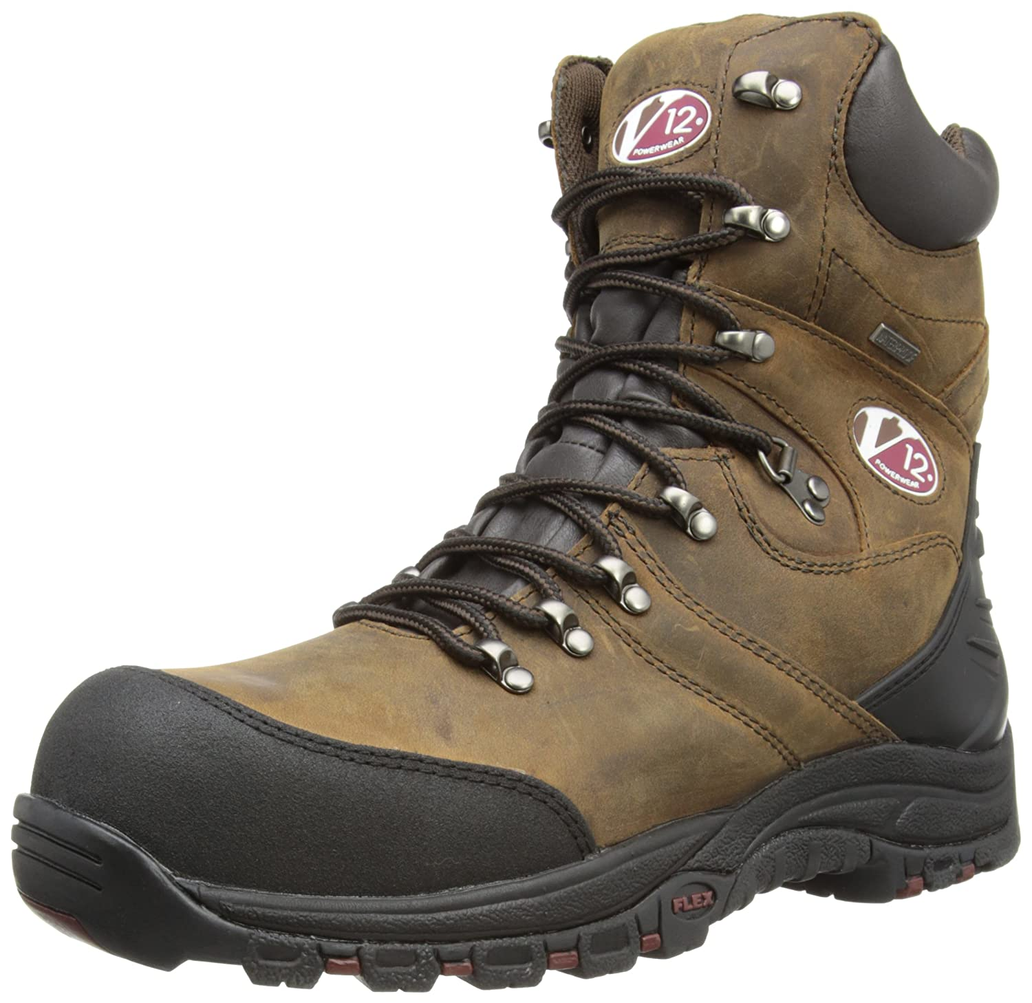 481824f33ff V12 Rocky, Zip-Sided Waterproof Safety Hiker, 05 UK 38 EU, Brown