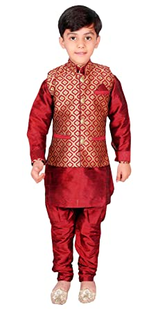 b3f9cb2d06 Amazon.com  Boys Kurta Pajama Waistcoat Maharaja Style Bollywood EB 947   Clothing
