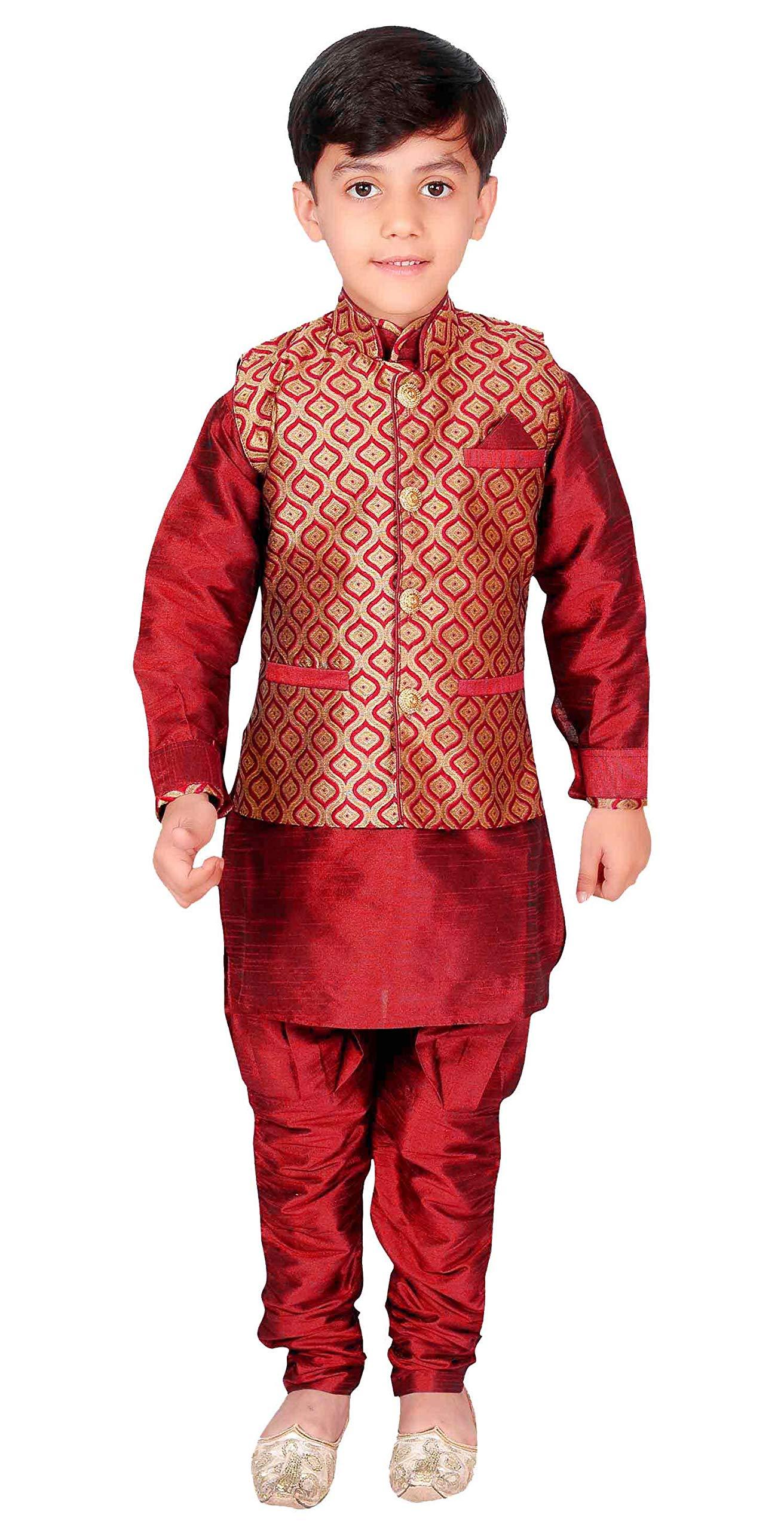 Boys Kurta Pajama Waistcoat Maharaja Style Bollywood EB 947 (8 (8 yrs), Maroon)