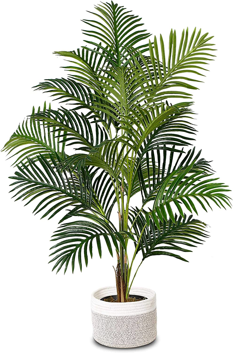 """Elpidan- Artificial Areca Palm Tree Plant Decor 47"""", Fake Palm Tree Plants, Silk Faux House Plants Indoor Tree, Fake Plant 