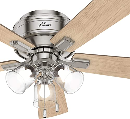 Hunter Fan 54 inch Low Profile Brushed Nickel Ceiling Fan