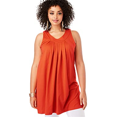 1fa7d0b69cd Roamans Women's Plus Size V-Neck Trapeze Tunic at Amazon Women's ...