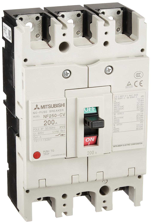 三菱電機 ノーヒューズ遮断器 NF250-CV 3P 200A B0111HI6BU  定格電流:200A