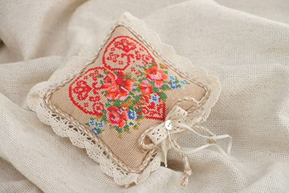 Amazon.com: Handmade Ring Bearer Pillow With Colorful Cross ...