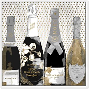 The Oliver Gal Artist Co. Drinks and Spirits Framed Wall Art Canvas Prints 'Pass The Bottle Night' Champagne Home Décor, 16