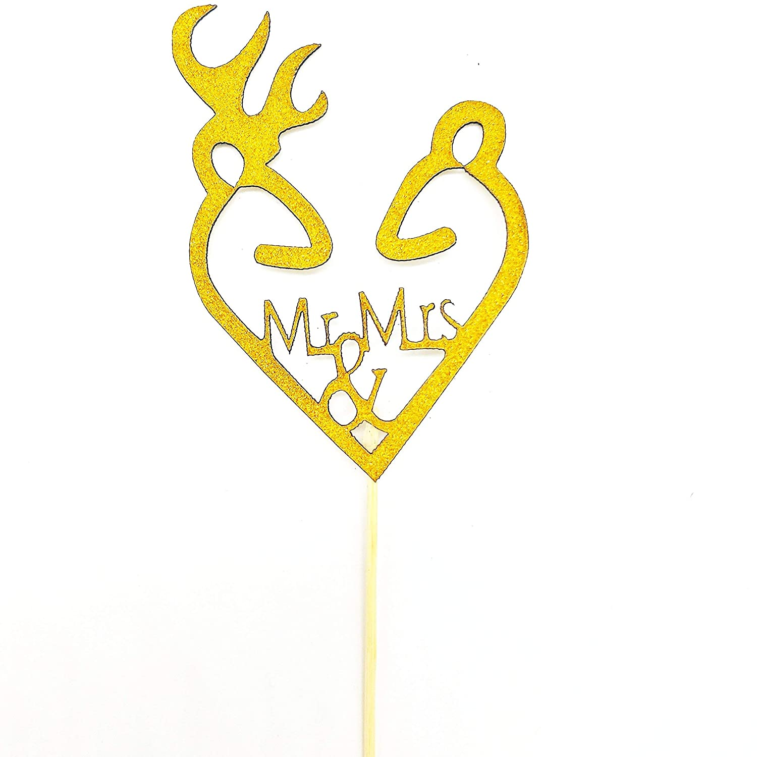 Gold Mr and Mrs Cupcake Toppers
