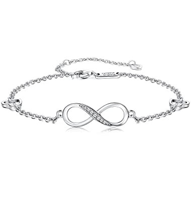 Silver Infinity Bracelet, with CZ Diamonds, Double Silver Chain with Adjustable Length.