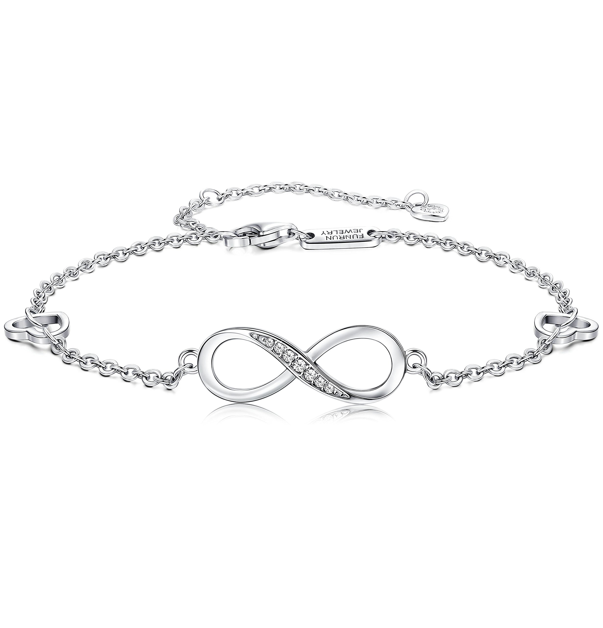 FUNRUN JEWELRY 925 Sterling Silver Infinity Bracelets and Anklet Bracelets for Women Girls 4-Level Adjustable Length Gift for Mother's Day (Anklet)