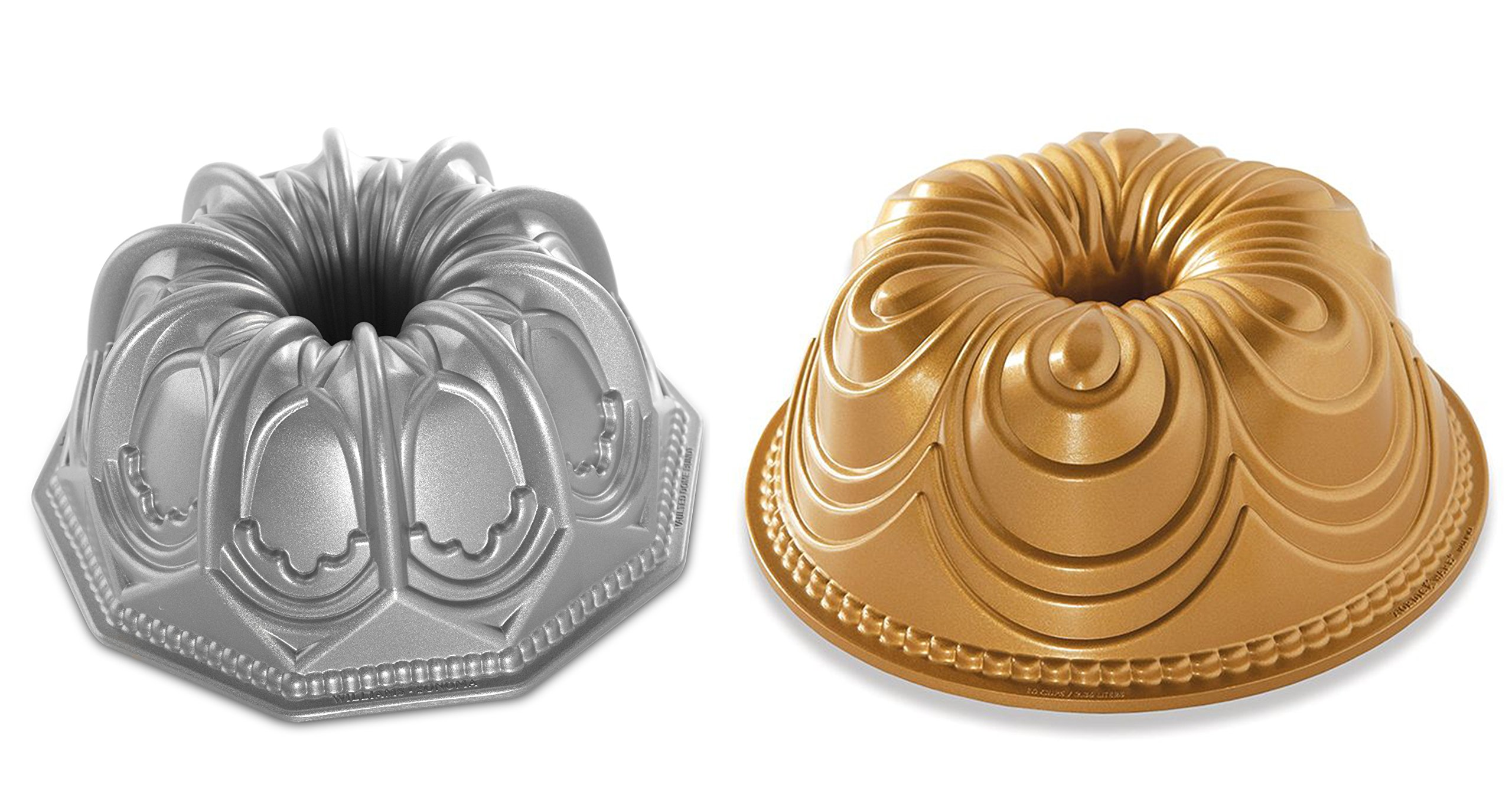 Set of 2 Nordic Ware Cake Chiffon and Vaulted Cathedral Bundt Pans