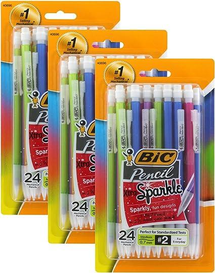 BIC Xtra Sparkle portaminas, 0,7 mm, HB # 2, varios barriles, pack de 24 (paquete de 3 unidades): Amazon.es: Oficina y papelería