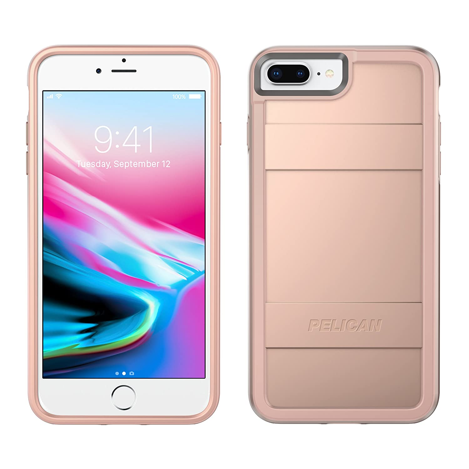 Pelican iPhone 8 Plus Case | Protector Case - fits iPhone 6/6s/7/8 Plus (Metallic Rose Gold)