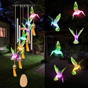 ANIUJITUAN Solar Panel Hummingbird Wind Chimes with Multicolor LEDs Includes Waterproof – Perfect Decor for Outdoor, Garden, & Home Lighting