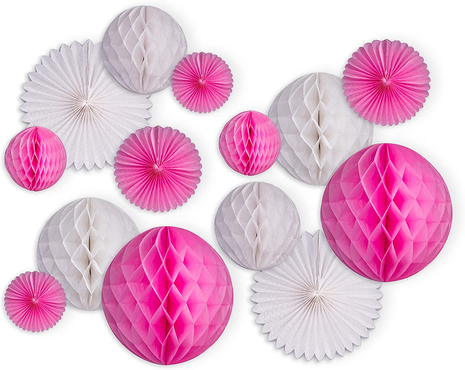 HILWA Wedding Shower Paper Decorations and Pink Party Decorations - Includes Honeycomb Ball, Hanging Paper Fans Party Decorations – Great for Bachelorette Décor, Birthday Party and More