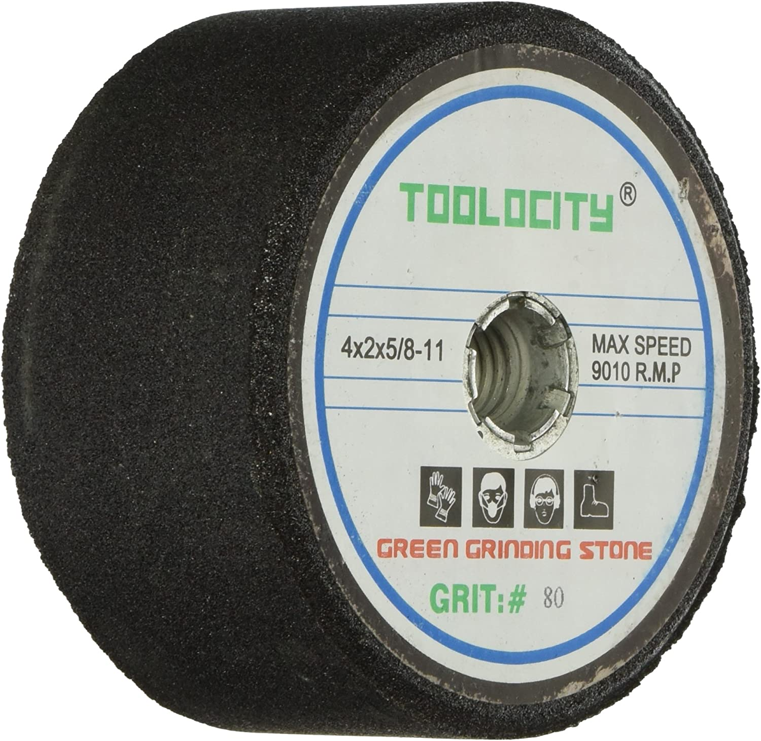 Toolocity GSB0080G 4-Inch Green Grinding Stone 80 Grit with 5/8-11 Thread