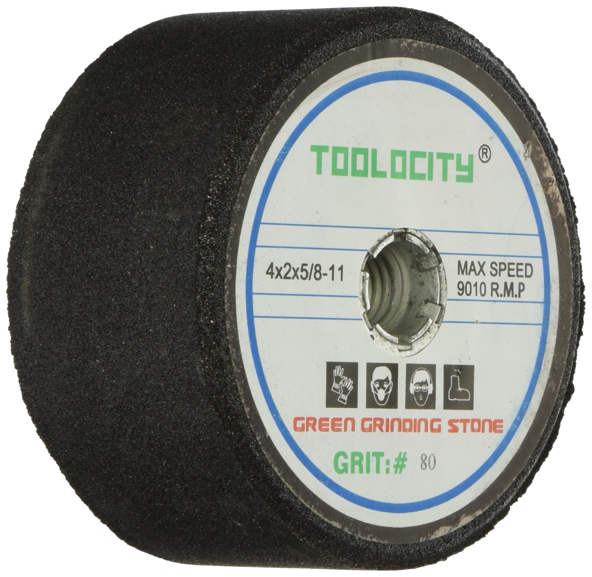 Toolocity GSB0080G 4-Inch Green Grinding Stone 80 Grit with 5/8-11 Thread by Toolocity