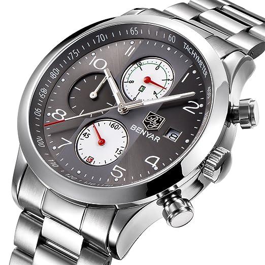 dc602cd84cd6 BENYAR Hombres Reloj Cronógrafo Impermeable Relojes de Negocios Deporte  Acero Inoxidable Correa Reloj de Pulsera para Hombre  Amazon.es  Relojes