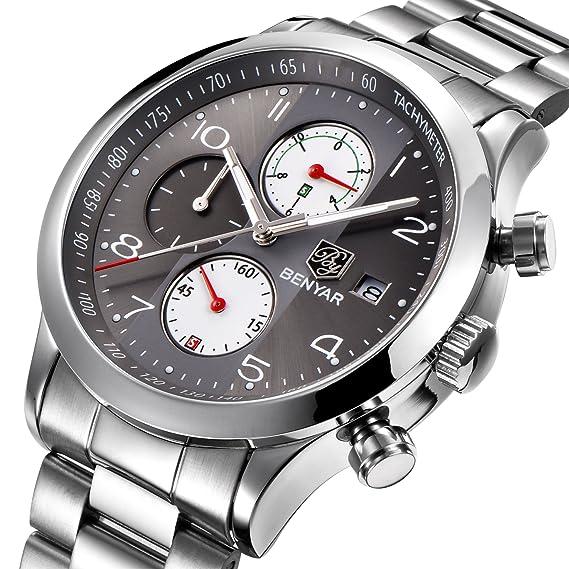 BENYAR Hombres Reloj Cronógrafo Impermeable Relojes de Negocios Deporte Acero Inoxidable Correa Reloj de Pulsera para