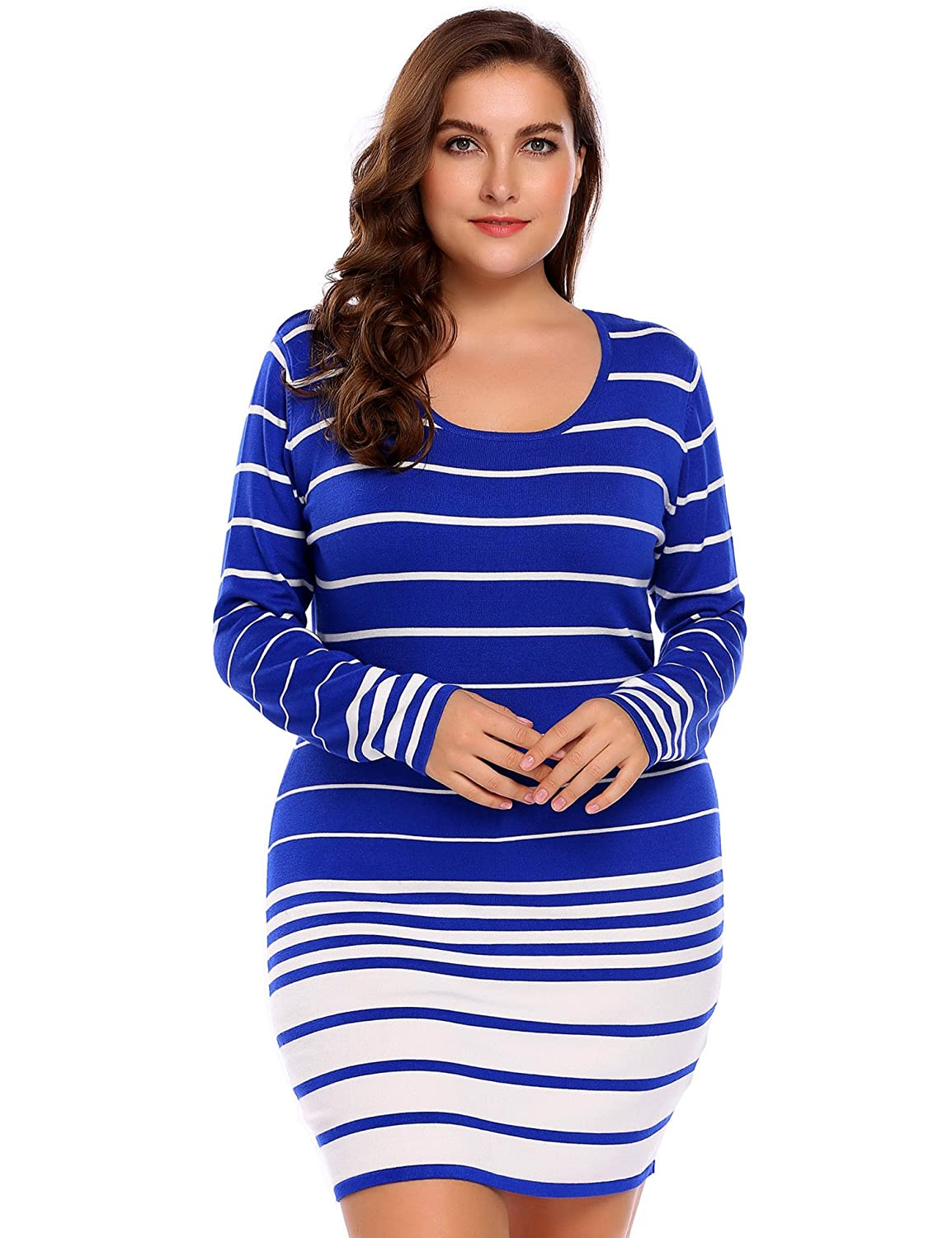 1a4adfa650 IN VOLAND Plus Size Women s Round Neck Striped Sweater Dress Slim Fit Knitted  Pullover at Amazon Women s Clothing store