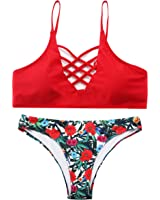 Sign Red Floral Print Criss Cross Bikini Set Two Piece Bathing Suits For Women