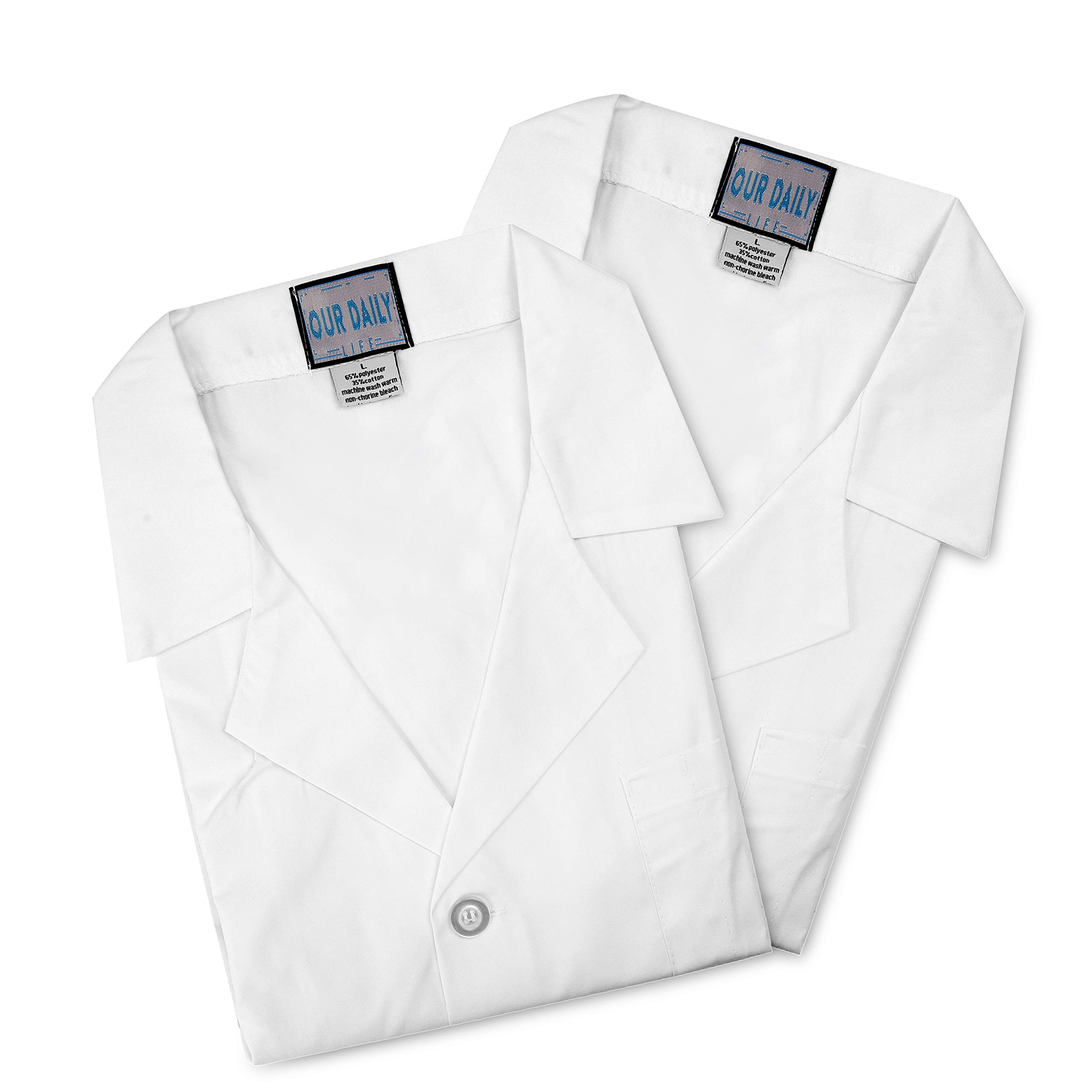"Set of 2 White Unisex Lab Coats. Three Outside Pockets and an Inner Pocket. Length 41"" (Large)"