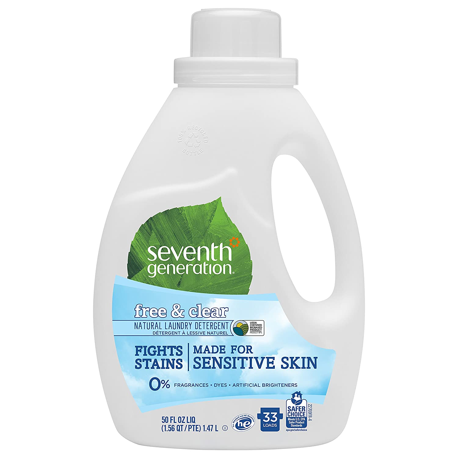 Seventh Generation Liquid Laundry Detergent, Free & Clear, 50 oz, 33 Loads (Packaging May Vary)