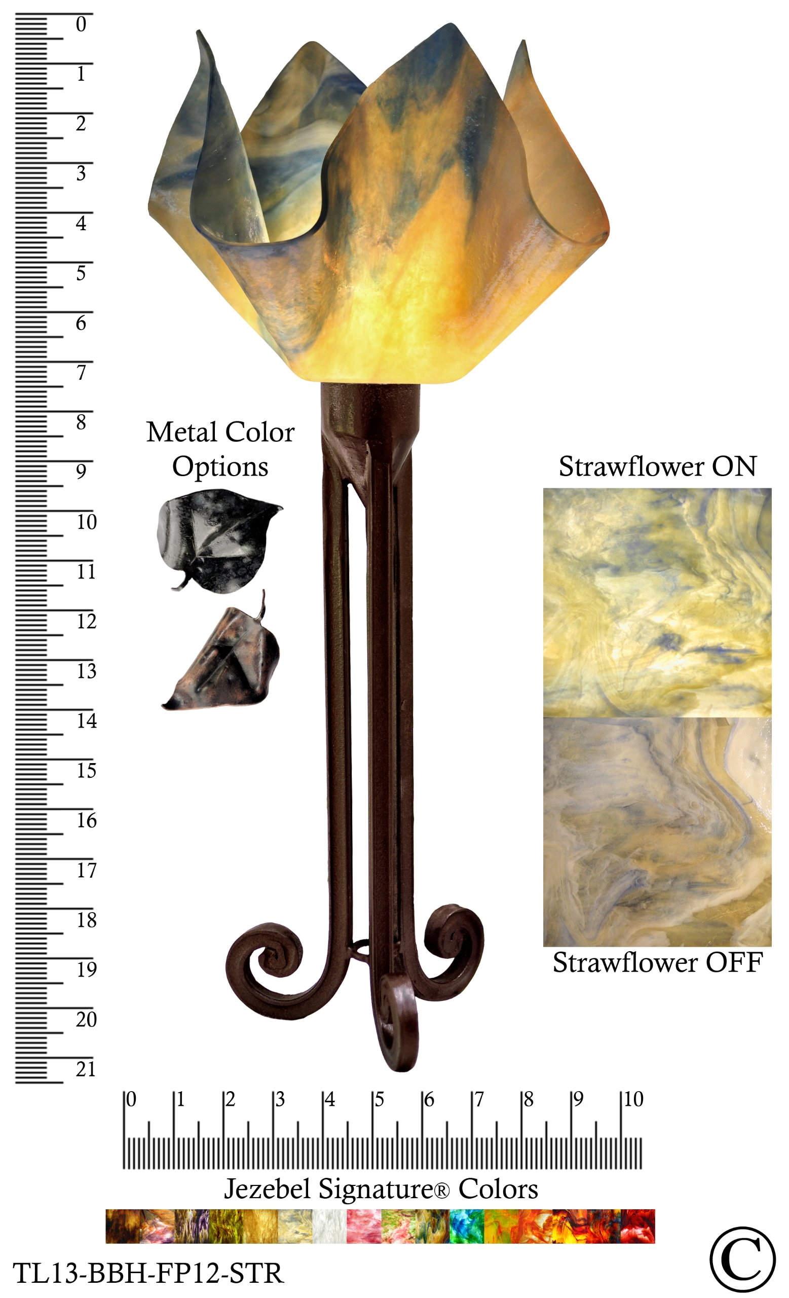 Jezebel Signature® Torch Light. Hardware: Brown with Brown Highlights. Glass: Strawflower, Flame Style