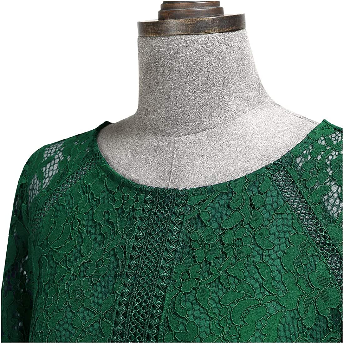 MIUSOL Vintage Pizzo Chiffon A-Line con Spacco Laterale Formale Sera Vestito Lungo da Donna