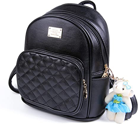 LUI SUI Women Fashion Backpack Girls Ladies School Shoulder PU Leather Daypacks Travel Bag Purses with Cute Decoration Black