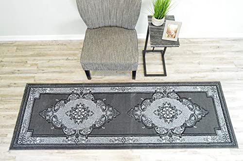 PlanetRugs Glamour Design 206 3D Hand Carved Traditional Rug Oriental Floral 2 6 x7 9 Grey Charcoal