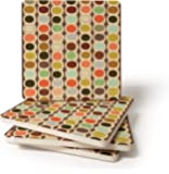 CoasterStone Mid Century Modern Bead Pattern Drink Coasters, 4.25 Inches Wide, Set of Four