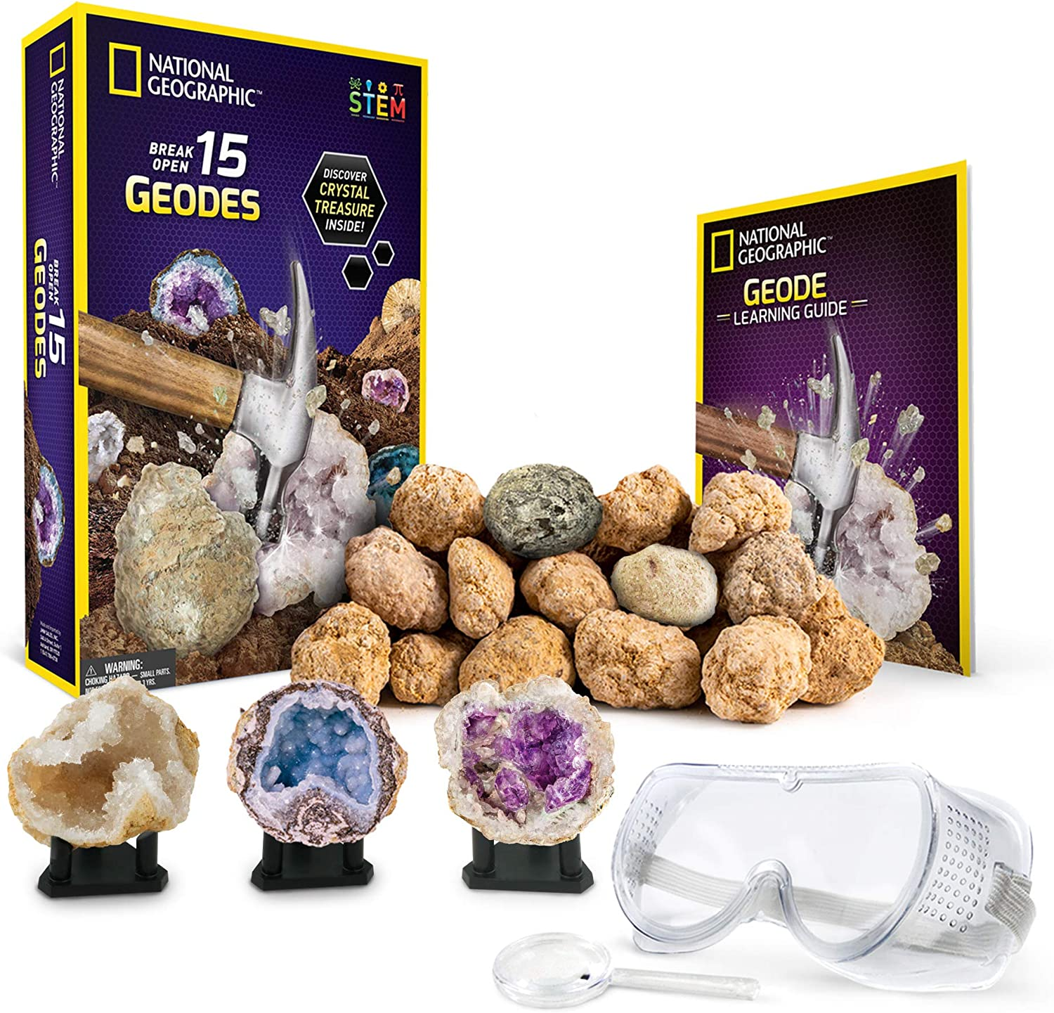 NATIONAL GEOGRAPHIC - Break Open 15 Premium Geodes – Includes Goggles, Detailed Learning Guide & 3 Display Stands - Great Stem Science Gift for Mineralogy & Geology Enthusiasts of Any Age