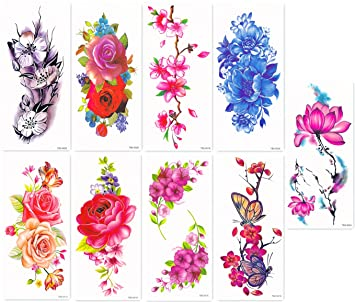 2bcd583b2085b Amazon.com : DaLin Sexy Temporary Tattoos Women 9 Sheets Rose, Peony  Flower, Butterflly, Lotus, Cherry Blossoms : Beauty