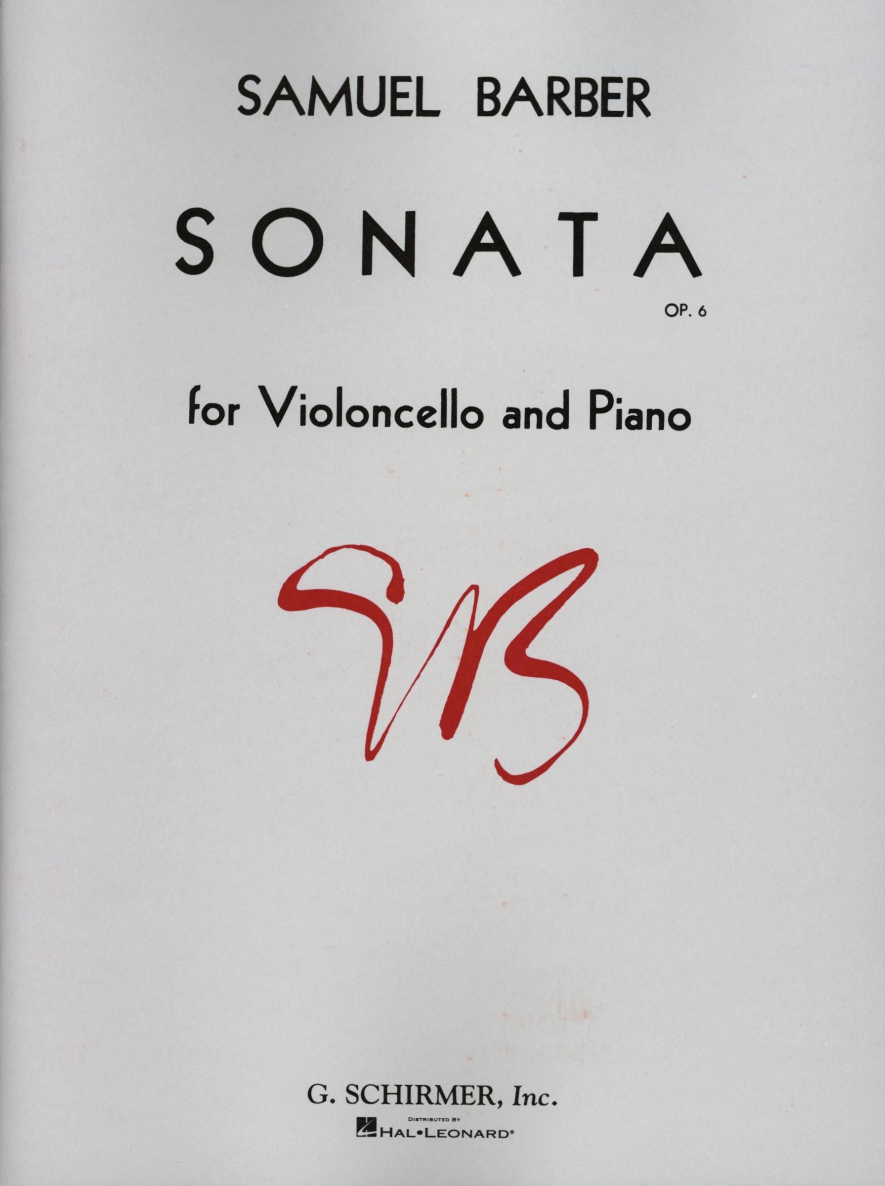Barber: Cello Sonata, Op. 6
