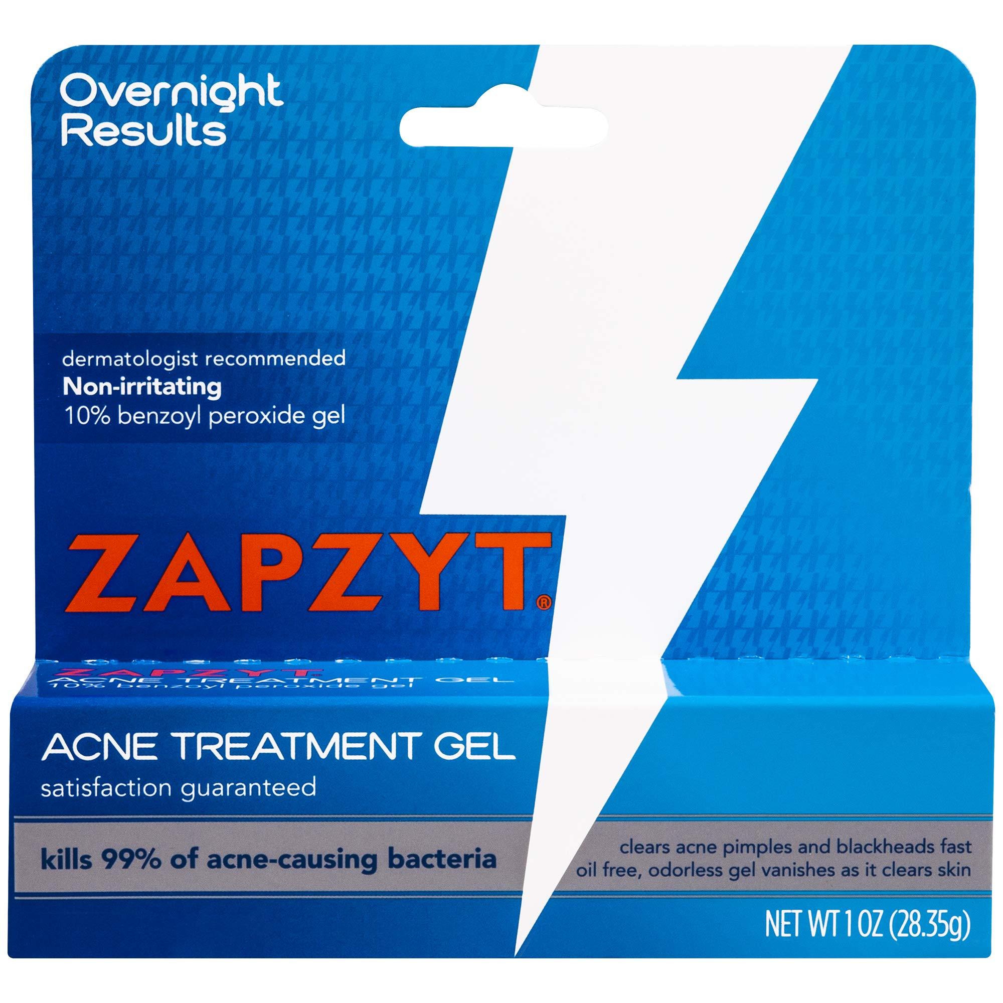 WALTMAN PHARMACEUTICALS Zapzyt Maximum Strength 10% Benzoyl Peroxide Acne Treatment Gel, 1 Ounce