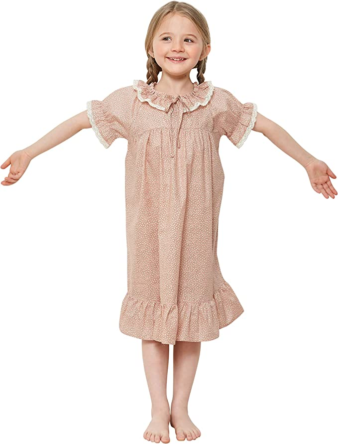 Victorian Kids Costumes & Shoes- Girls, Boys, Baby, Toddler 2t - 14 Years Short Sleeve Princess Cute One Piece Pajamas Sleepover orcite Girls Toddler Teen Nightgown  $25.00 AT vintagedancer.com