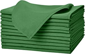 Remedios Green Polyester Cloth Napkins - 17 x 17 Inch Soft Washable Dinner Napkins - Set of 12 Pieces Hemmed Edges Table Napkins for Wedding, Party, Restaurant