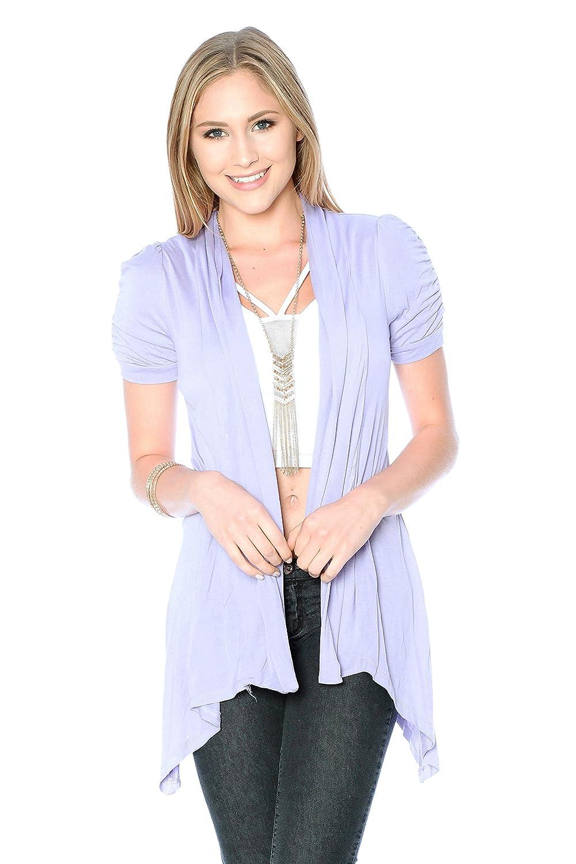 Rayon Short Sleeves Flyaway Cardigan Shawl Collar Shrug Cardi Plus ...